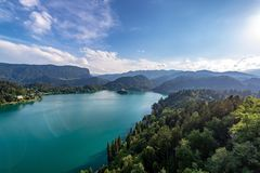 Forest and Lake Bled royalty free stock images