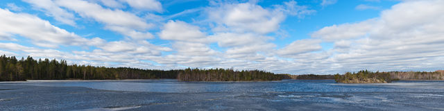 Forest lake with melting ice Royalty Free Stock Photography