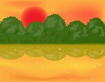 Forest lake over sun. Beautiful landskape of a forest lake over sun stock illustration