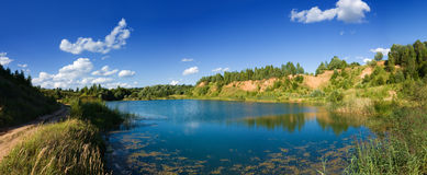 Forest lake panoramic view landscape Stock Images