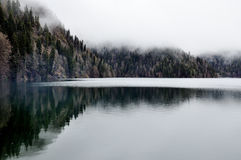 Forest lake reflection with fog in Rica, national park Abkhazia. Early morning Royalty Free Stock Photo