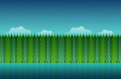 Forest, lake and sky seamless. Abstract nature landscape. Vector illustration. Elements are layered separately in vector file Stock Photo