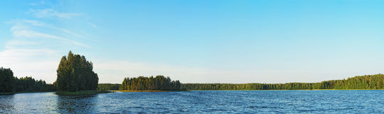 Forest lake with small islands Royalty Free Stock Photos