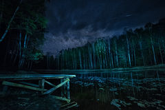 Forest lake and the starry sky at night. Royalty Free Stock Images