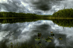 Forest lake in a storm Stock Photo