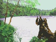 Forest Lake Vetor Paisagem Imagem de Stock