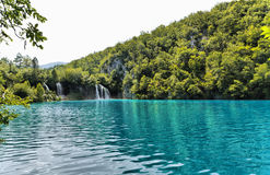 Forest lake and waterfall. Forest lake in Plitvicke Natioanl Park, Croatia Royalty Free Stock Image