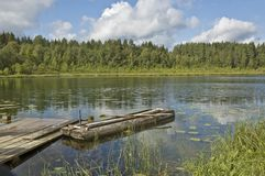 Forest Lake With Old Wooden Boat Stock Image