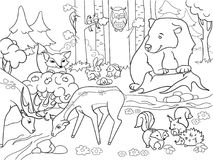 Forest Landscape with animals coloring raster for adults. Forest Landscape with animals coloring book for adults raster illustration. Black and white lines Glade stock illustration