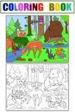 Forest Landscape avec des animaux colorant le vecteur pour des adultes Photos stock