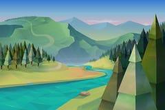 Forest landscape background vector illustration