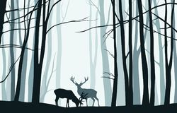 Forest landscape with blue silhouettes of trees and deers - vector illustration vector illustration