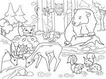 Forest Landscape con los animales que colorean la trama para los adultos Fotos de archivo libres de regalías