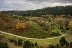 Forest and landscape in Denmark. Panoramic view of forest and landscape in Denmark with clouds Royalty Free Stock Photography