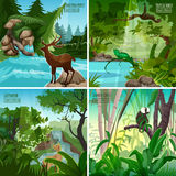 Forest Landscape 4 Flat Icon Square Royalty Free Stock Photo