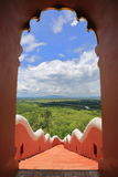 Forest landscape from gate of Wat Phra That Doi Phra Chan, lampa Royalty Free Stock Photo