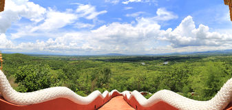 Forest landscape from gate of Wat Phra That Doi Phra Chan, lampa Royalty Free Stock Images