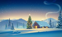 Forest landscape with house and christmas trees. Forest landscape with winter house and festive christmas trees. Raster illustration Royalty Free Stock Photography