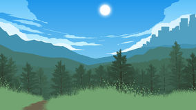 Forest landscape illustration royalty free stock photo