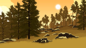 Forest landscape illustration Royalty Free Stock Image