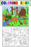 Forest Landscape mit den Tieren, die Vektor für Erwachsene färben Stockfotos