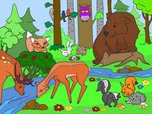 Forest Landscape mit den Tieren, die Vektor für Erwachsene färben Lizenzfreie Stockfotos