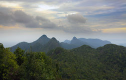 Forest landscape with mountain range in Langkawi, Malaysia. Royalty Free Stock Images