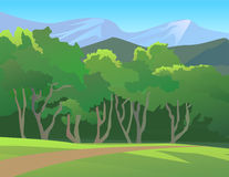 Forest Landscape With Mountain. Vector illustration of a forest and the mountains behind the forest Royalty Free Stock Photos