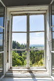 Forest landscape on old wooden window Royalty Free Stock Photos