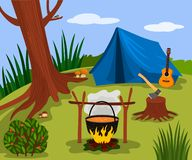 Forest landscape sunny day in the summer camp. Nature, wood, bonfire, tent and guitar are symbols of green tourism. vector. Forest landscape sunny day in the stock illustration