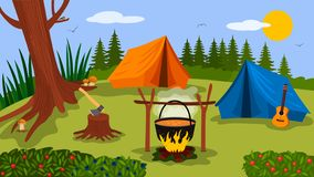 Forest landscape sunny day in the summer camp. Nature, wood, bonfire, tent and guitar are symbols of green tourism. vector. Forest landscape sunny day in the royalty free illustration