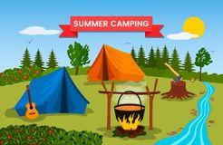 Forest landscape sunny day in the summer camp. Nature, wood, bonfire, tent and guitar are symbols of green tourism. vector. Forest landscape sunny day in the vector illustration