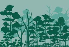 Forest landscape vector image. Many tree in the jungle.Shrubs in the forest vector illustration