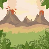 A Forest Landscape with Volcano and jungle plants. Vector Stock Photo