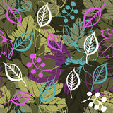Forest leaves seamless pattern Stock Image