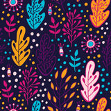 Forest leaves seamless  pattern. Spring or summer nature background in colors of purple, pink, blue and orange Royalty Free Stock Images