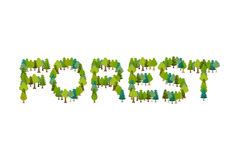 Forest lettering. Letters from trees. Nature typography Stock Image
