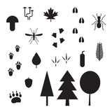 Forest Life Silhouette Vector Outline Icons Stock Image