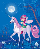 Forest little fairy riding on a unicorn Royalty Free Stock Photography