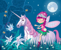 Forest little fairy in the woods riding on a unicorn. Vector drawing forest little fairy in the woods riding on a unicorn Stock Image