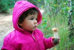 In the  forest, the little girl is holding a mushroom boletus. Stock Image