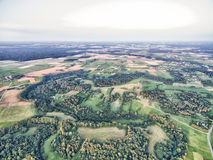 Forest and Living Area in Lithuania, Telsiai District. Wheat Fields, Forest, Town. Royalty Free Stock Photography