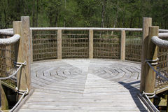 Forest loch viewing platform Royalty Free Stock Images