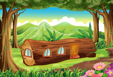 A forest with a log house Royalty Free Stock Photo