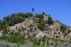 Forest lookout tower. Fire watchtower in Puig d'Olorda, Collserola, Barcelona Stock Photos
