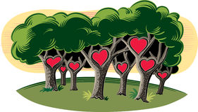 Forest, with love hearts. Royalty Free Stock Images