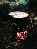 Forest Lunch, Camping, Outdoor, Hike. Forest, Camping, Outdoor fire bonfire Adventure Hike Hiking Outdorlife Wild Wildfood Lunch food royalty free stock photography
