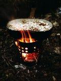 Forest Lunch, gachas de avena, el acampar, al aire libre, alza Fotografía de archivo libre de regalías