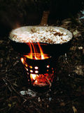 Forest Lunch, Porridge, Camping, Outdoor, Hike. Forest, Camping, Outdoor fire bonfire Adventure Hike Hiking Outdorlife Wild Wildfood Lunch Eggs royalty free stock photography