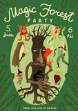 Forest Magic Party Announcement Poster Illustration Stock